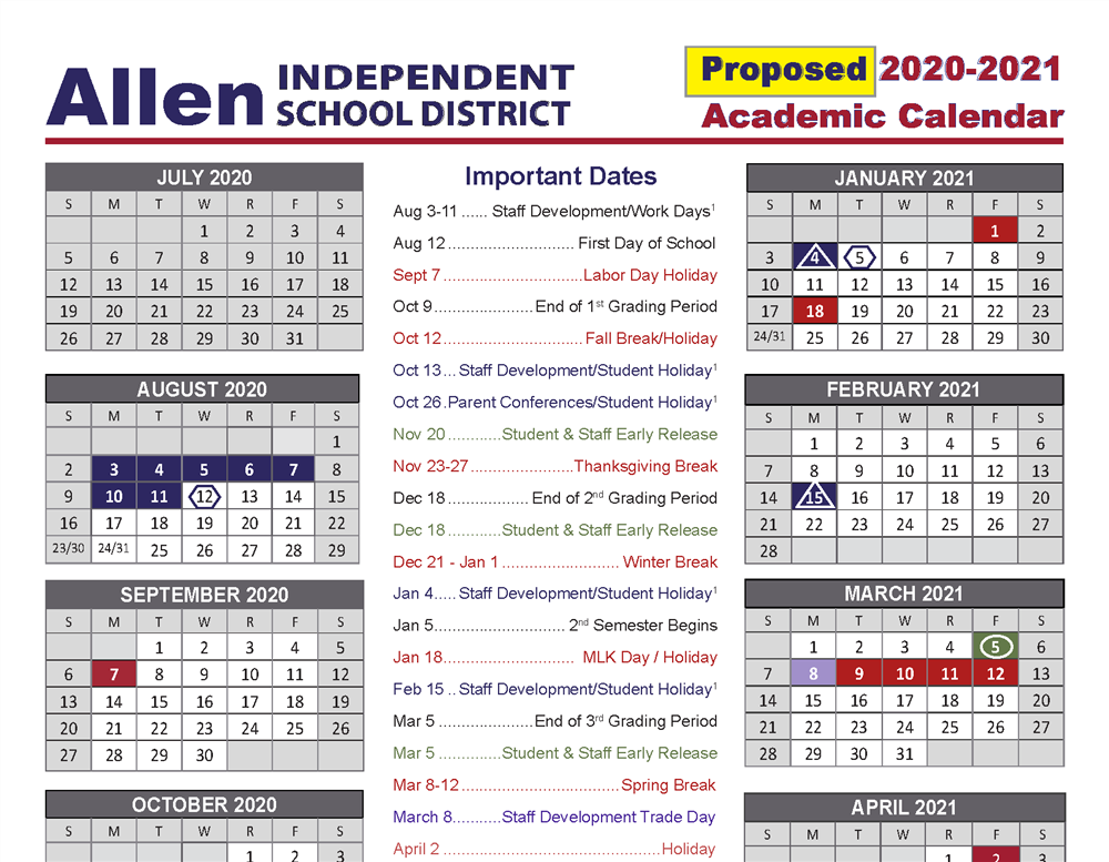 Proposed 2020-2021 Academic Calendar Approved by Board