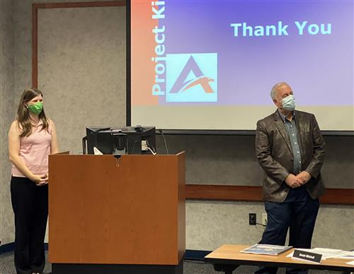 Theresa Ginsburg and Bob Acker presented to the Board of Trustees