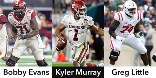A photo collage of Bobby Evans, Kyler Murray and Greg Little.
