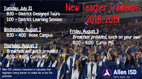 New Teacher Traditions Schedule