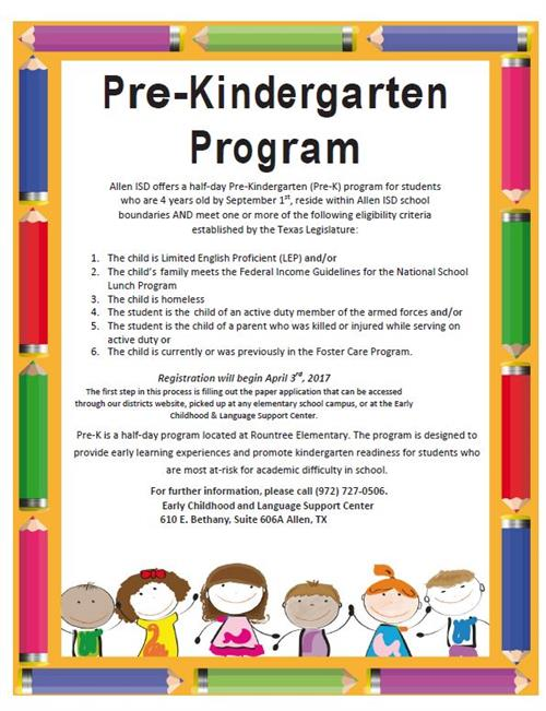Pre-k English Flyer