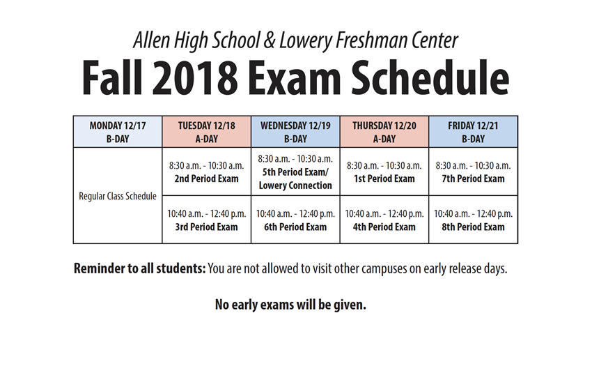 Fall 2018 Exam Schedule