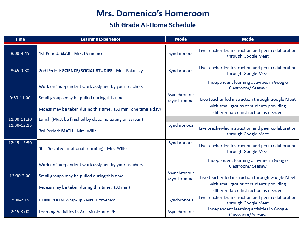 Mrs. Domenico's Homeroom At-Home Learning Schedule