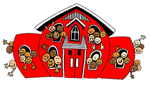 Red cartoon schoolhouse with many happy children waving from the windows