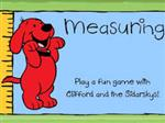 This is a picture of Clifford the dog standing next to a yard stick to measure to help find the Measuring link