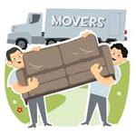 This is a picture of 2 boys moving a couch to help find the Weight Link