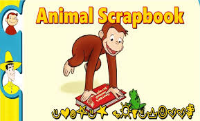 This is a picture of Curious George the Monkey with a book to help find the Animal Scrapbook link.