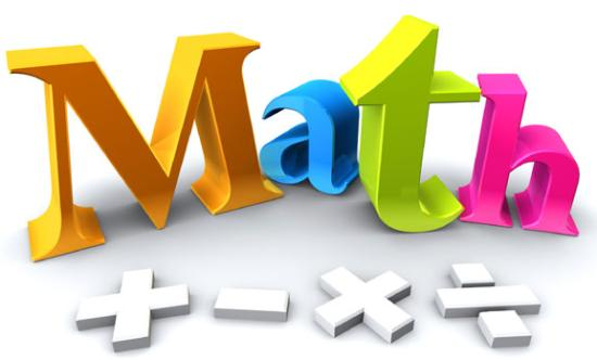 The word math with mathematics symbols lying in front of the word