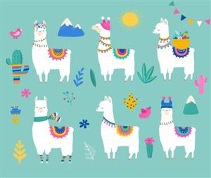 six llamas wearing decorative outfits with cactus and mountains in the background