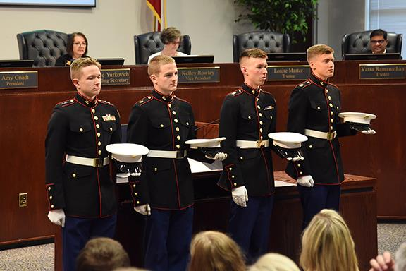 JROTC cadets visit Board of Trustees Meeting