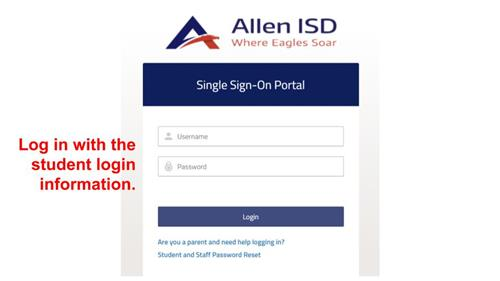Log in with the student login information