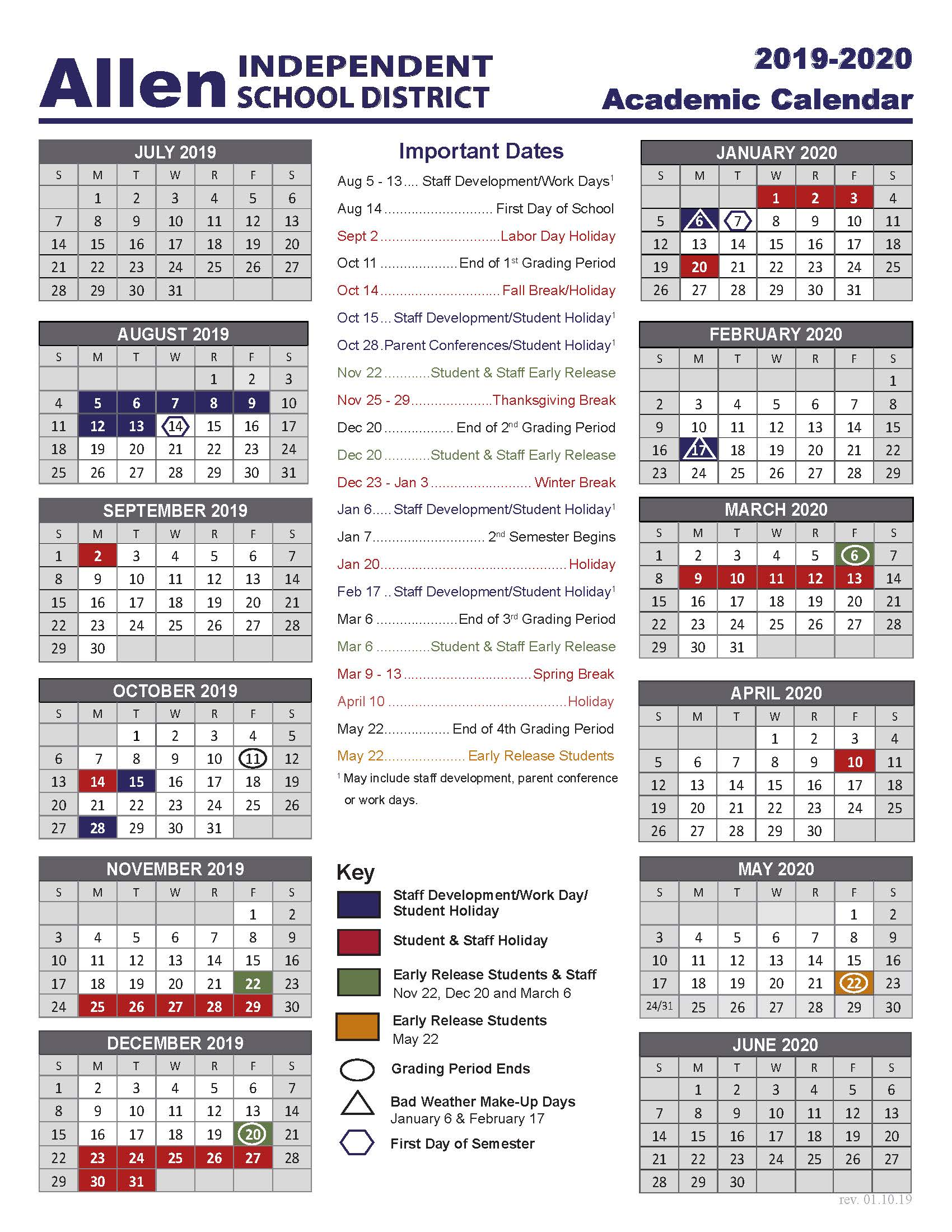Image link to 2019-2020 Academic Calendar