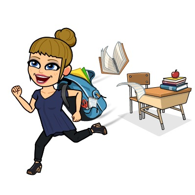 Bitmoji of Mrs. Sims and school supplies.